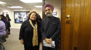 Ambassador Taranjit Singh Sandhu with Dr.Afshan Hashmi at the Indigo Exhibition at the Gandhi Memorial Center