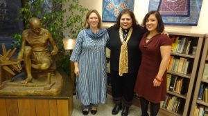 ( L-R)Carrie Trybulec Director Gandhi Memorial Center, Dr.Afshan Hashmi & Laura Kina at the Indigo Exhibition at the Gandhi Memorial Center