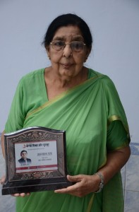 My mom Mrs..Jamila Siddiqi . My mom got felicitated by the UP Chief Minister in India